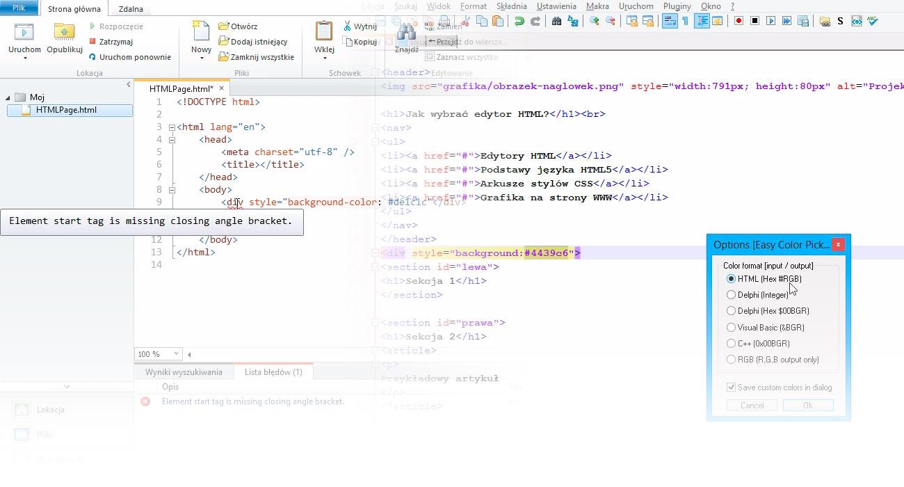 Edytor HTML dla projektantów stron WWW